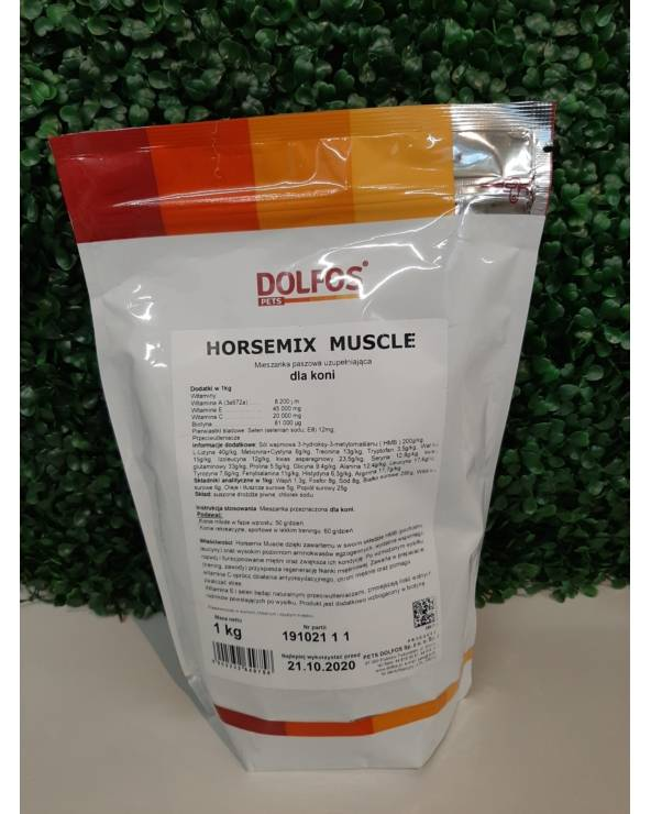 Preparat wspomagający funkcjonowanie i rozwój masy mięsniowej Horsemix Muscle Dolfos