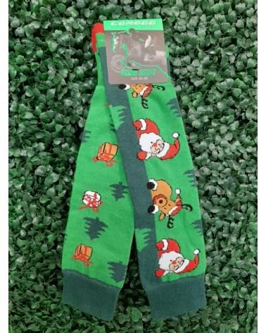 Skarpetki podkolanówki świąteczne jeździeckie Comodo green Santa Claus