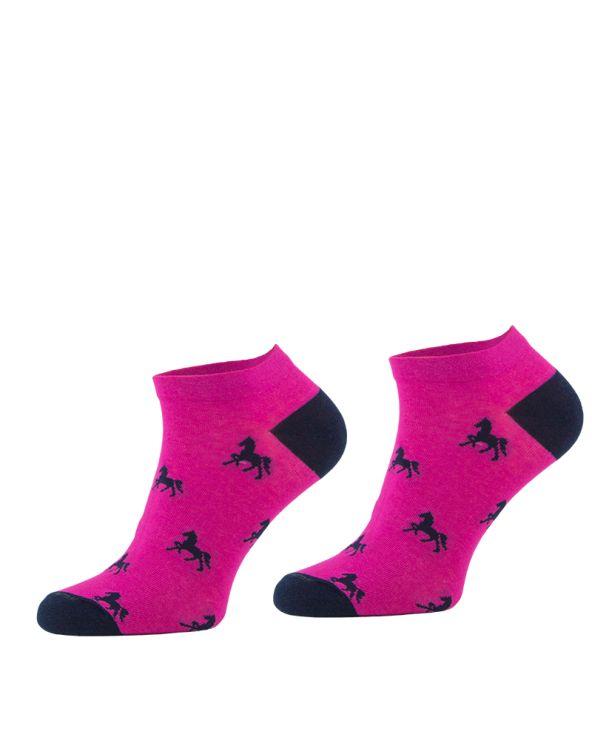 Skarpetki stopki bawełniane w koniki różowe Comodo