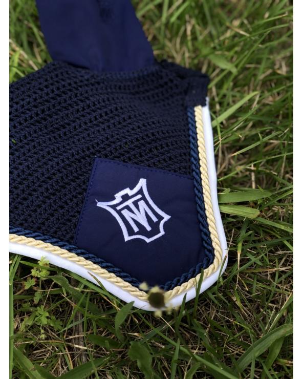 Nauszniki z tkaniną i logo z podwójnym sznurkiem MATTES M navy
